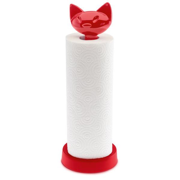 Stojan na papírové ručníky MIAOU - malinová barva, KOZIOL