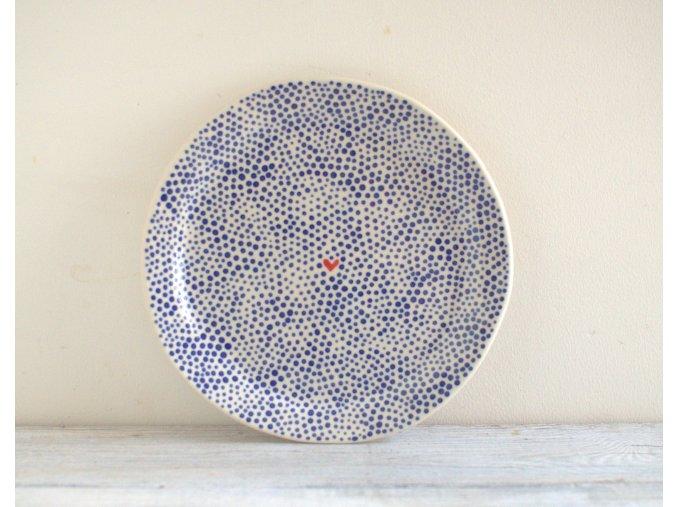 Snídaňový talíř 22cm - tečkovaný se srdíčkem