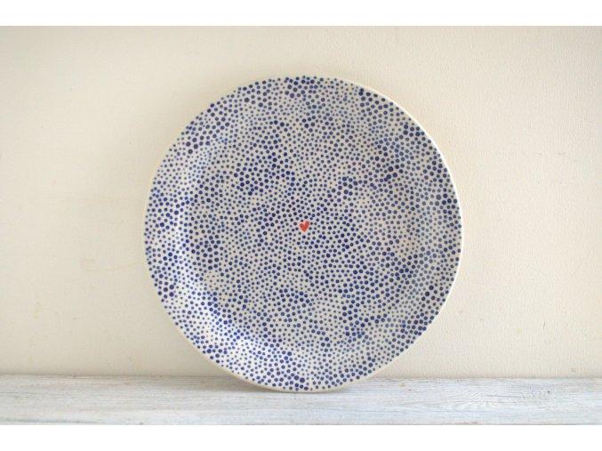 Jídelní talíř 25cm - tečkovaný se srdíčkem