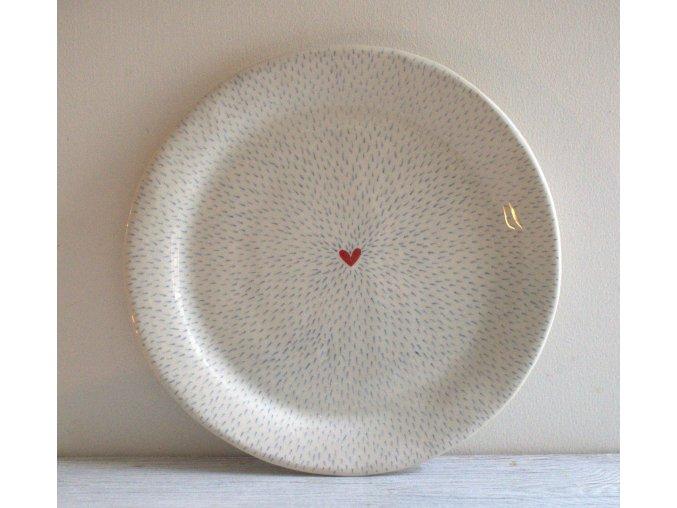 Jídelní talíř 25cm - čárkovaný se srdíčkem