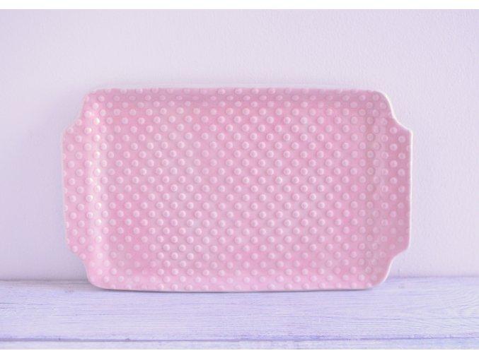 Servírovací talířek růžový 26x16 - body