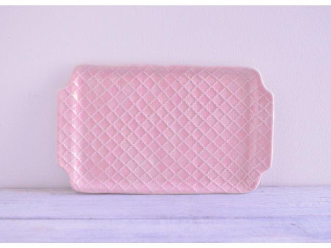 Servírovací talířek růžový 26x16 - baroko