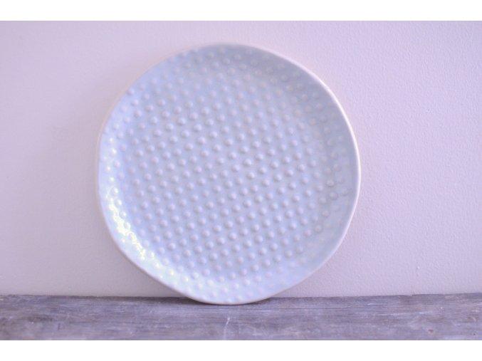 Snídaňový talíř 20 cm světle modrý - body
