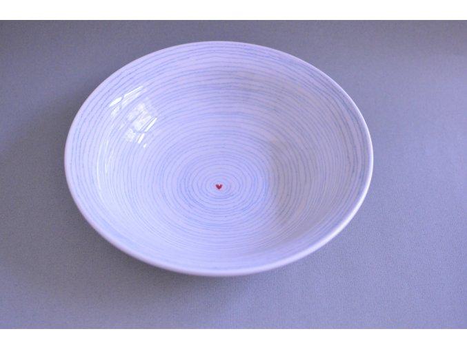 Hluboký široký talíř - pruhovaný se srdíčkem