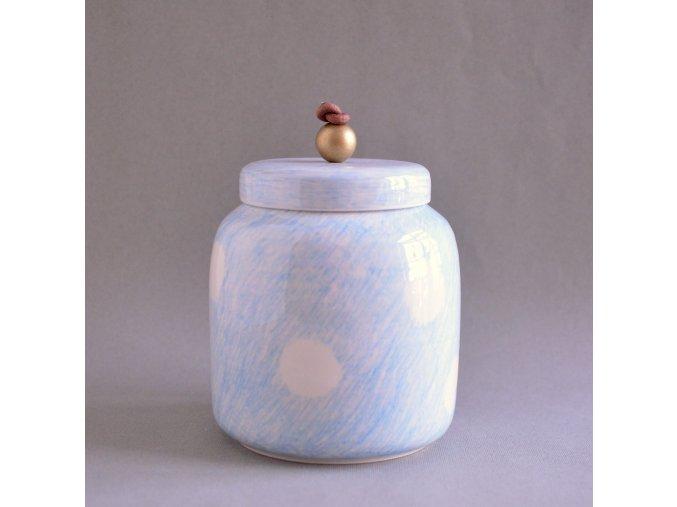 Dóza/Váza velká kreslená modrá s velkými bílými puntíky