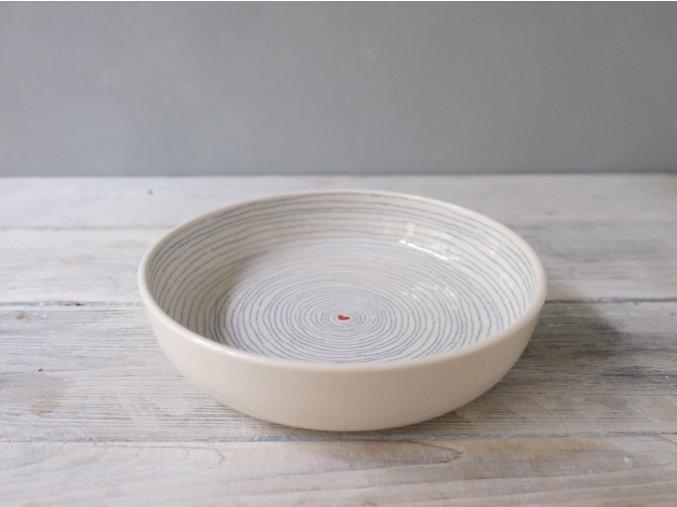 Omáčkový talíř 21cm - pruhovaný se srdíčkem