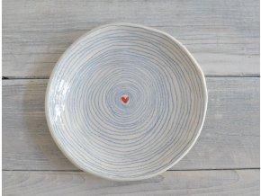 Dezertní talíř 17cm - pruhovaný se srdíčkem