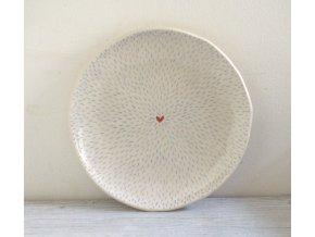 Dezertní talíř 17cm - čárkovaný se srdíčkem