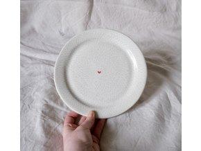 Snídaňový talíř 22cm - čárkovaný se srdíčkem