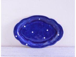 Dezertní talířek oválný - modrý s bílými puntíky