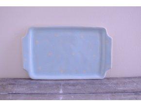 Servírovací talířek hranatý - světlemodrý s bílými puntíky