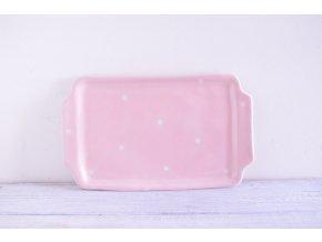 Servírovací talířek hranatý - růžový s bílými puntíky