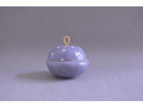 Šperkovnička - šedá s bílými puntíky, kožené ucho, větší