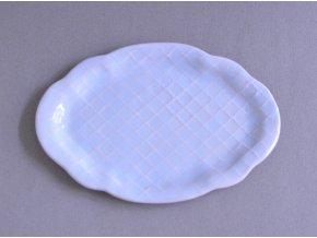 Dezertní talířek oválný světle modrý - baroko