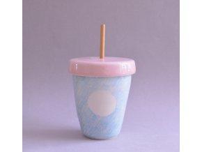 Limo pohárek 500ml - kreslený modrý s velkými bílými puntíky