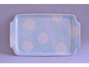 Servírovací talířek 26x16 - Kreslený s velkými bílými puntíky