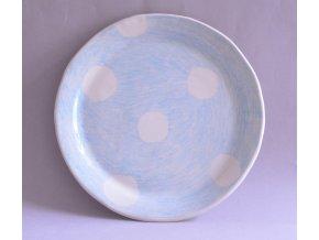 Jídelní talíř 25cm - kreslený s velkými bílými puntíky