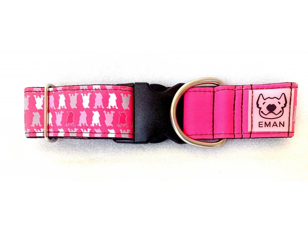 Obojek - bull maskáč růžová (collar bull-camouflage pink) 5cm