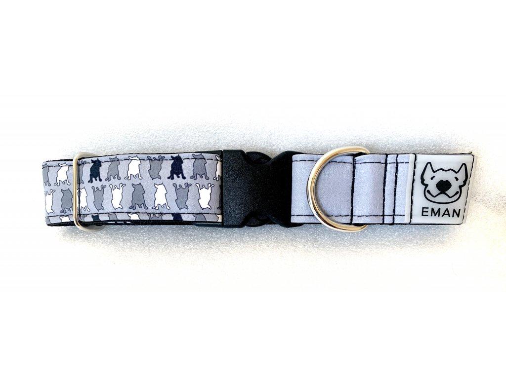 Obojek - bull maskáč šedá (collar bull-camouflage grey) 4cm