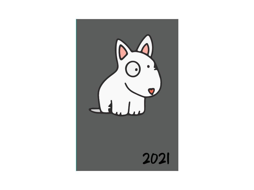 Diář 2021 - bulík šedá - týdenní