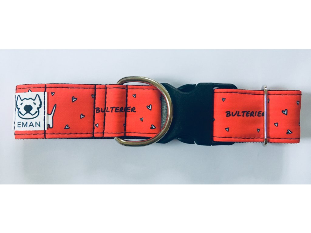 Obojek - BULTERIER červená 4 cm