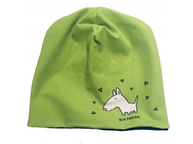čepice oboustranná - BULTERIER zelená/černá