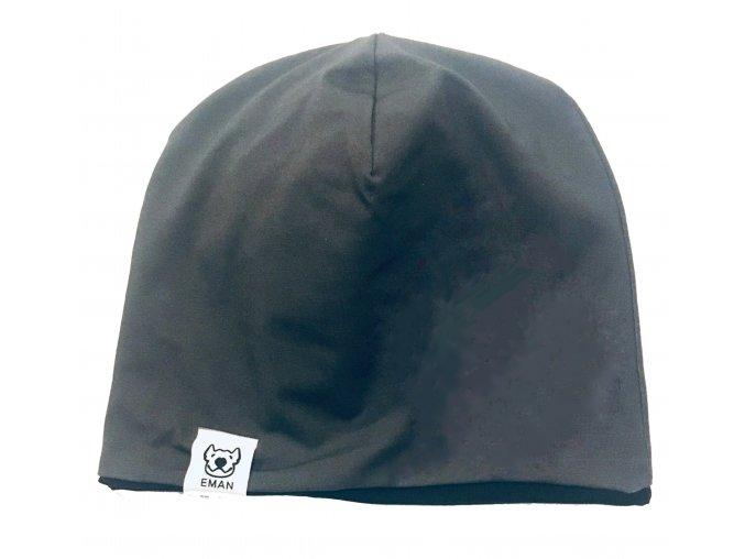 čepice oboustranná - MILUJU růžová/černá