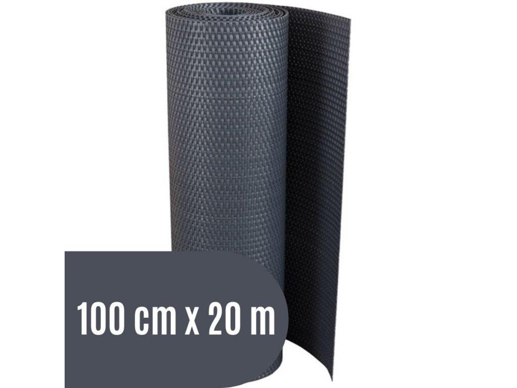 Zástěna na balkon ratanová, výška 100 cm - balení 20 m, barva tmavě šedá RD03