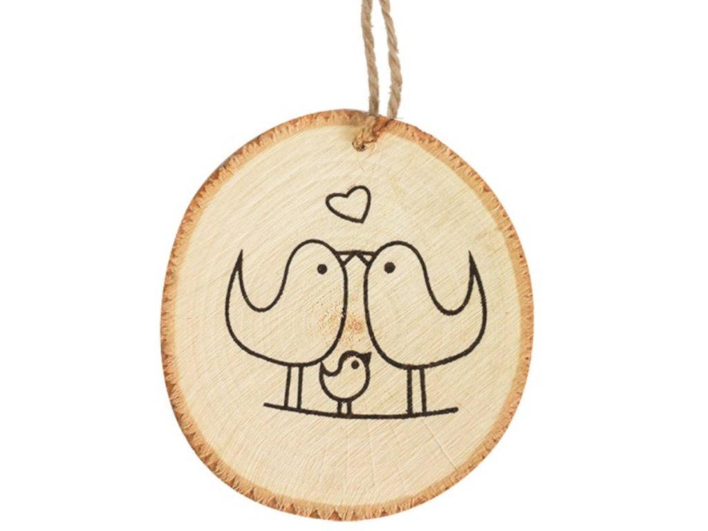 Dřevěná dekorace na zavěšení 10 cm, se zamilovanými ptáčky