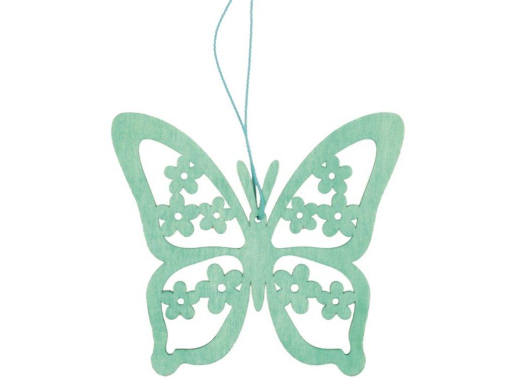 Dřevěný motýl na zavěšení 12 cm, tyrkysový