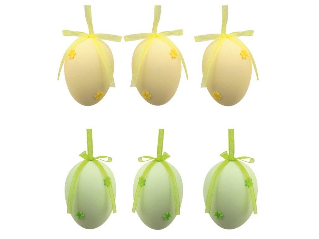 Vajíčka plastová na zavěšení 5 cm,s kytičkou,6 ks v sáčku