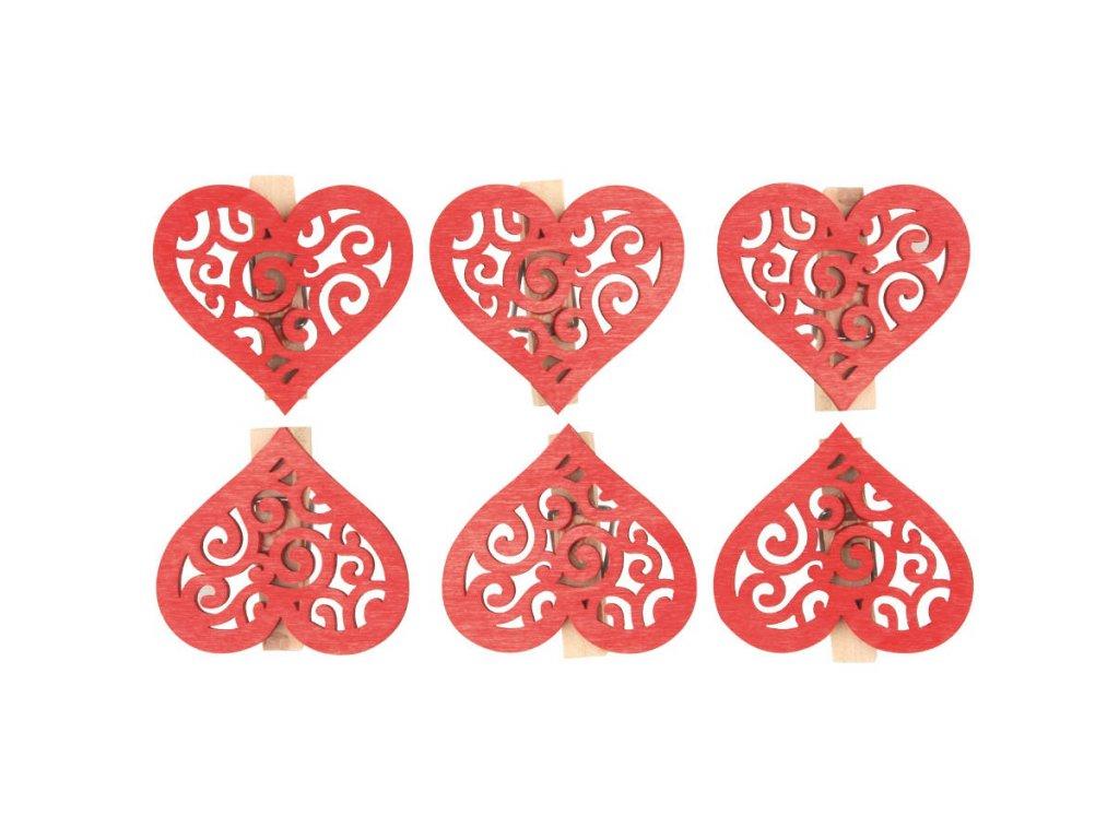 Srdce dřevěné červené s kolíčkem 4 cm, 6 ks