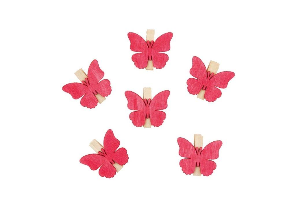 Dřevění motýli s kolíčkem 4 cm, 6 ks