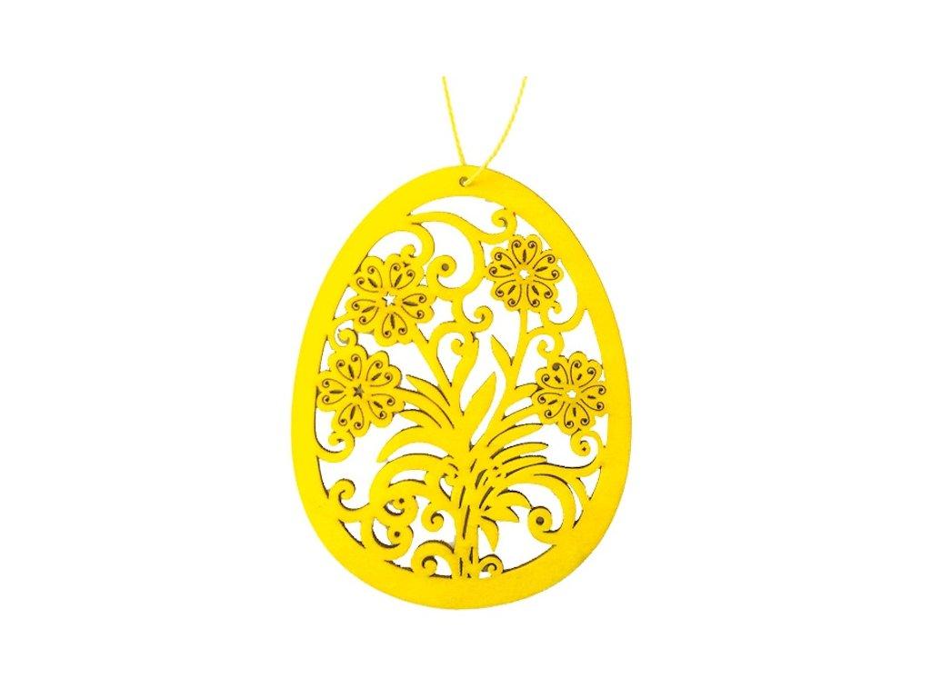 Dřevěné vajíčko na zavěšení, žluté 10 cm
