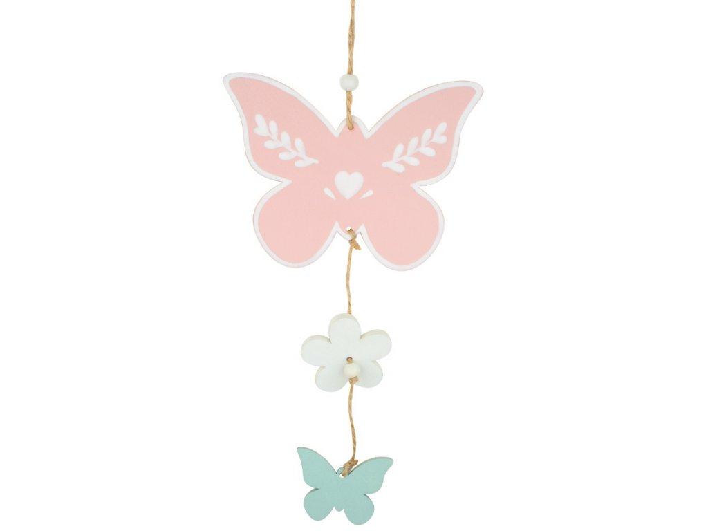 Motýlek dřevěný k zavěšení 25 cm