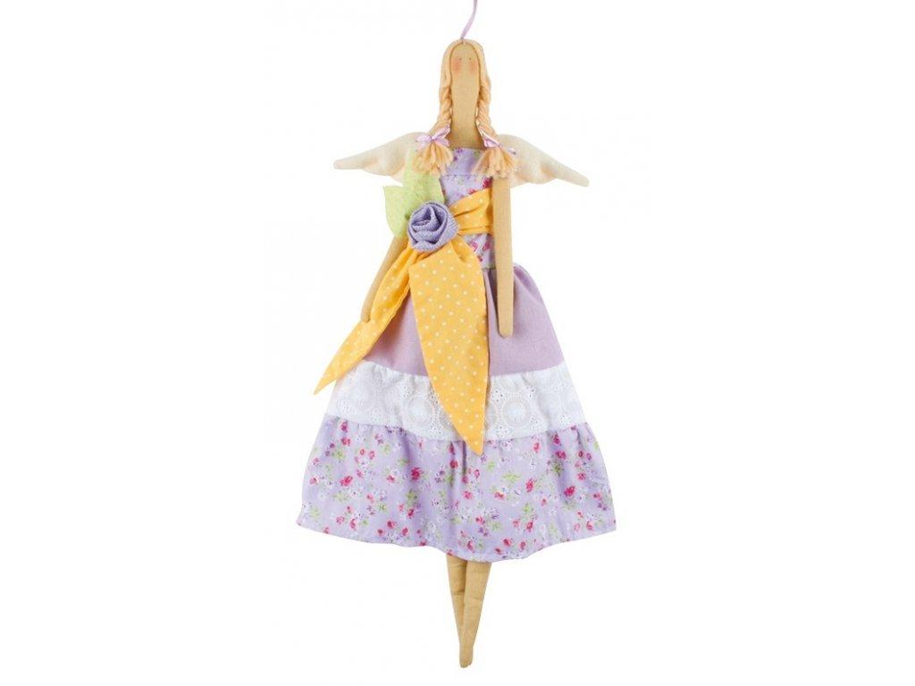 Andělka látková, fialková 47 cm
