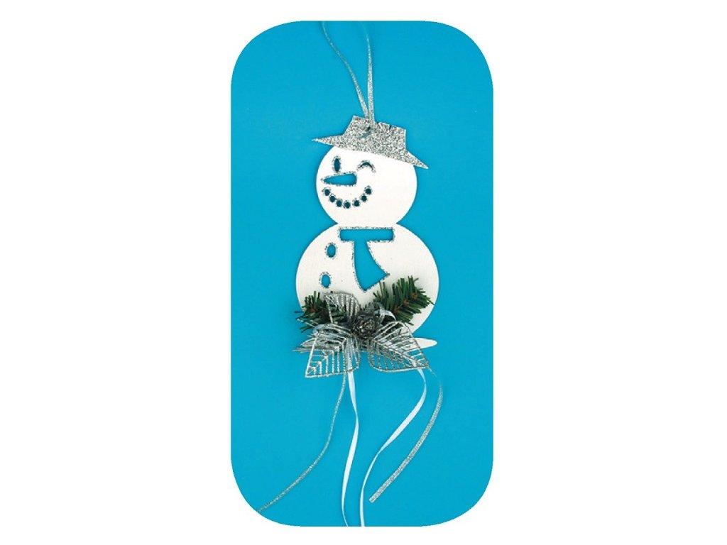 Sněhulák dřevěný se stříbrným dekorem 18cm