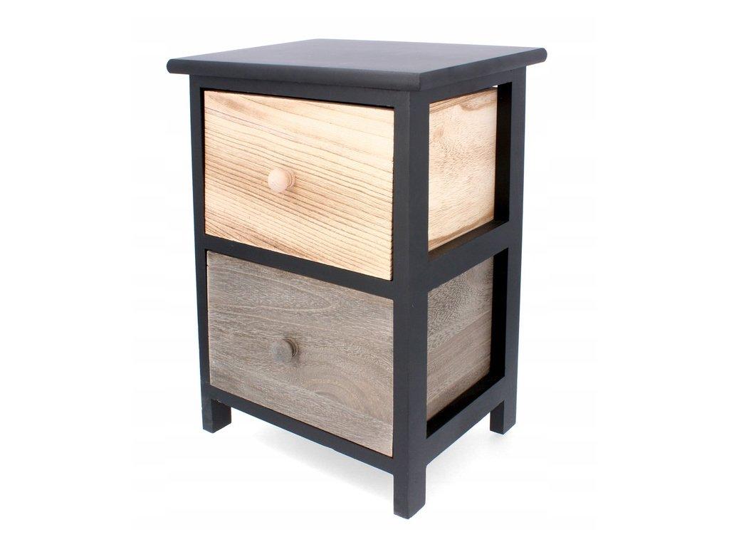 Dřevěná komoda se 2 různobarevnými šuplíky 30 x 23 x 42 cm