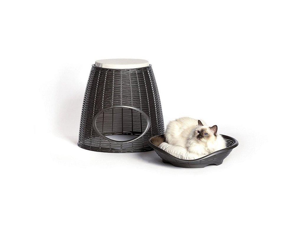 Pelíšek PASHA - odpočívadlo pro kočky a malé psy - barva antracitová