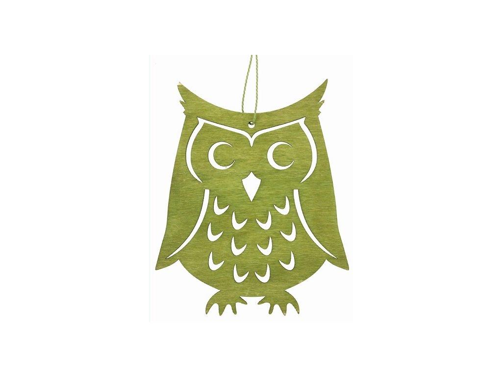 Dřevěná sova závěsná 12 cm, zelená