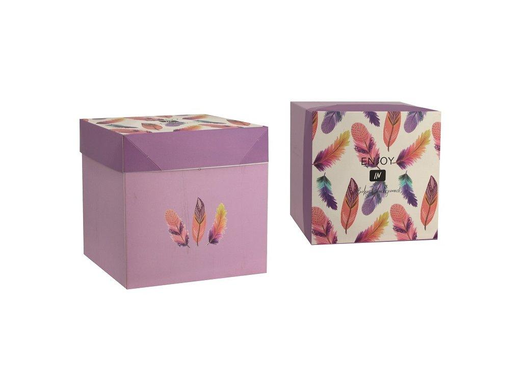 Dárková krabička skládací s mašlí M 16,5x16,5x16,5 cm peříčka