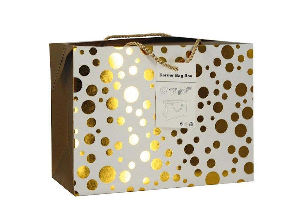 Dárková taška uzavíratelná L 27x20x13 cm se zlatými kolečky