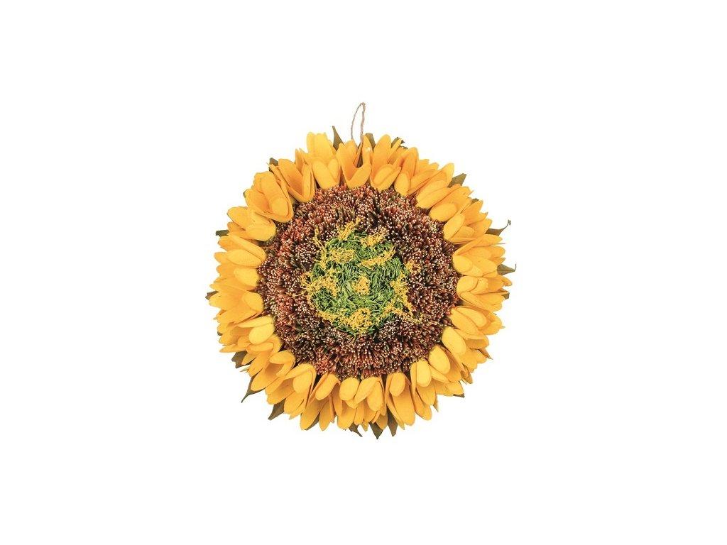 Dekorace slunečnice závěsná 27 cm, žlutá