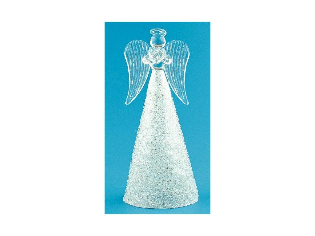 Anděl skleněný na postavení s třpytivou sukní 14 cm