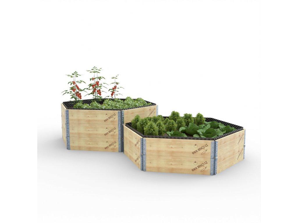Vyvýšený záhon dřevěný - šestihran - délka stěny 74 cm
