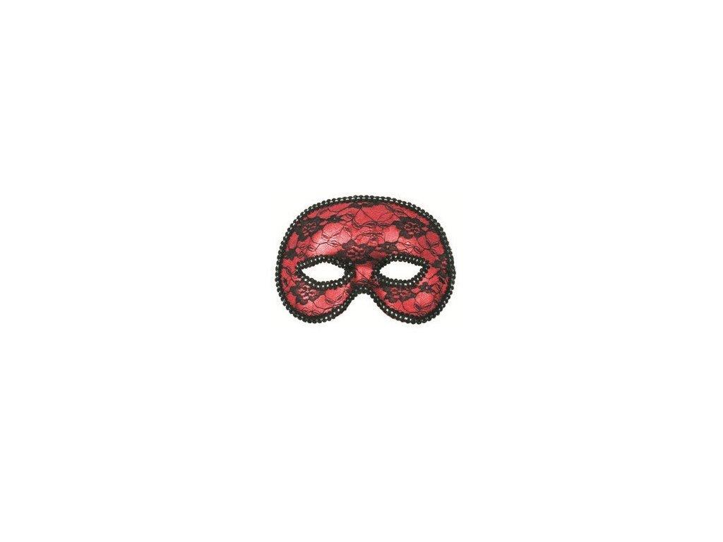 Plesová škraboška červená s krajkou 19 cm
