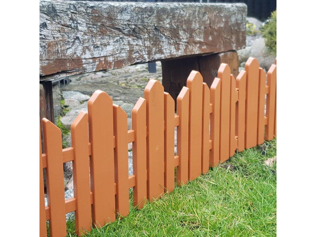 Zahradní plůtek, plast - imitace dřeva 2,3 m - barva terakota