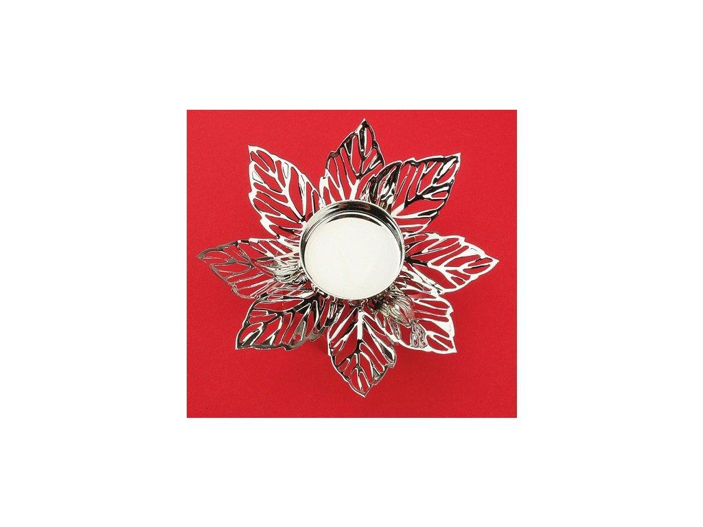 Kovový svícen stříbrný jemný květ,12cm, na čajovou svíčku