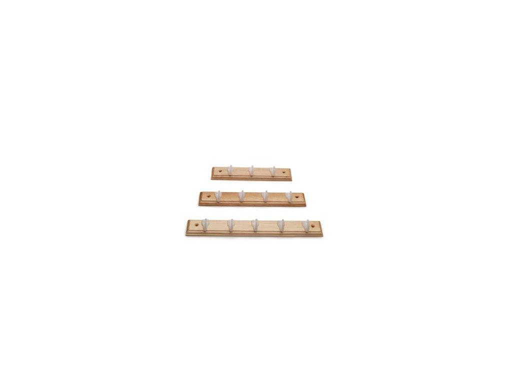 Věšák dřevěný malý s plastovými háčky - 3 háčky