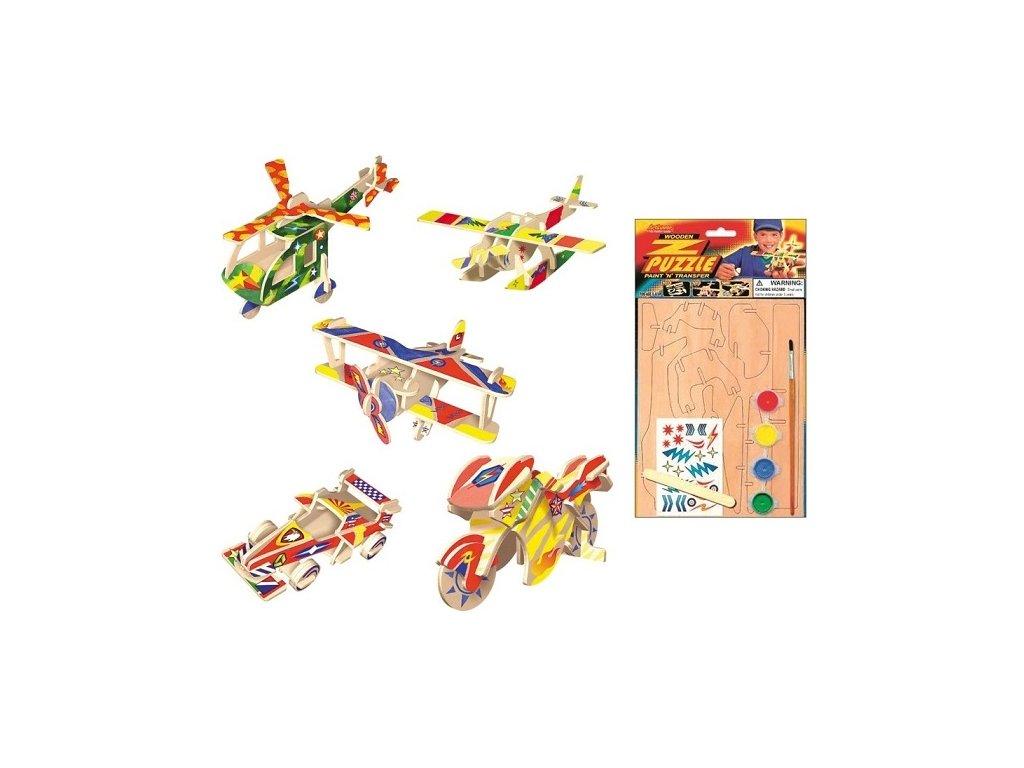 Dřevěné puzzle dopravní prostředky, 20x15cm